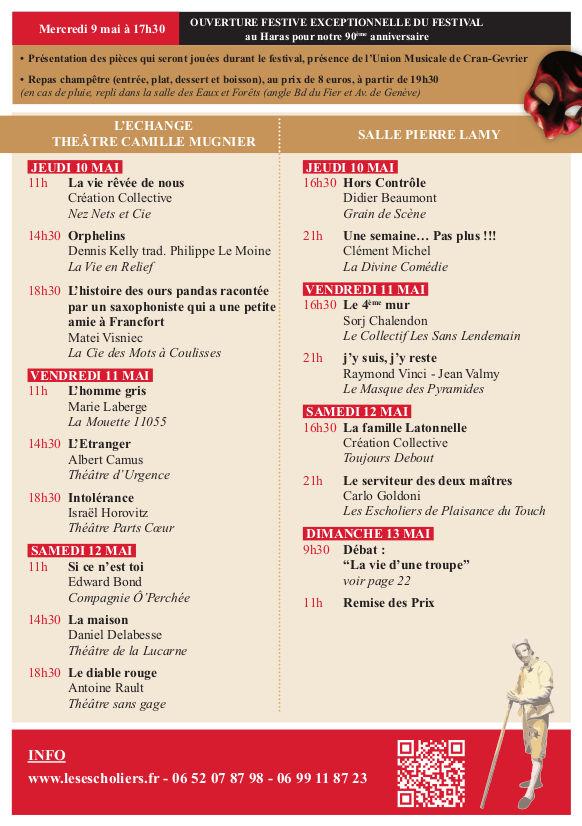 Récapitulatif détaillé du festival 2018 des Escholiers